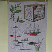 Two Tan Linen 'Ceylon Tea' Tea Towels