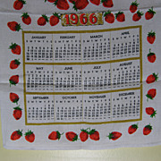 1966 Calendar Tea Towel With Strawberries