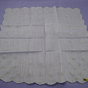 &quot;French Zone of  Austria&quot; White on White Hankie