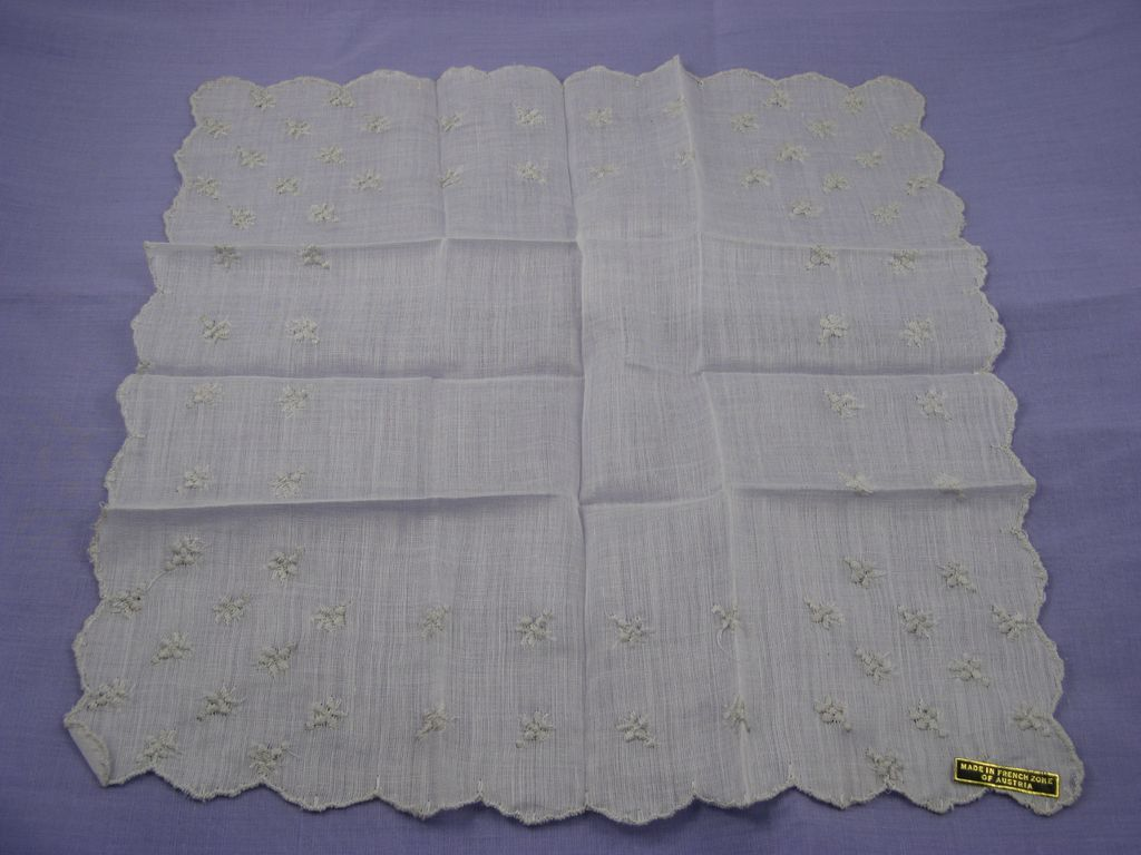 """French Zone of  Austria"" White on White Hankie"