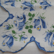 Scalloped Edged Ladies Hankie With Blue Roses