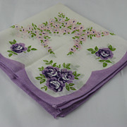 Vintage Ladies Handkerchief with Purple Roses
