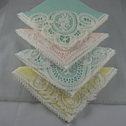 Four Pastel Ladies Handkerchiefs With Lace Inserts