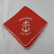 WWII Sweetheart U. S. Navy Red Silk Handkerchief