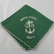 WWII Forest Green United States Navy Silk Handkerchief