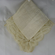 Lace Edged Wedding Handkerchief