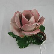 "Porcelain ""Italy"" Rose Candle Holder"