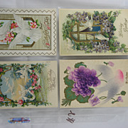 Four Vintage Used Birthday Cards With Doves