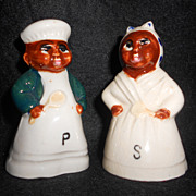 Vintage Black Americana Salt & Pepper Shakers, Mammy & Pappy