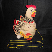 Vintage Collectable Cackling Hen Pull Toy Fisher-Price 1958-1966
