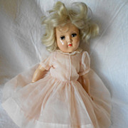 Ideal Toni P90 Doll Platinum Hair Pink Organza Dress