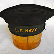 Vintage Cracker Jack Flat Hat US Navy 1940s Era