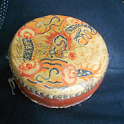 Vintage Chinese Wood Leather Drum Handpainted Folk Art