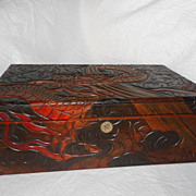 Vintage Antique Wood Carved Chinese Dragon Lock Box
