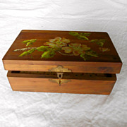 Vintage Cedar Wooden Box Hand Painted Flowers 1960's 70's