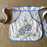 Vintage Child's Apron Hand Embroiderd Flowers Colorful