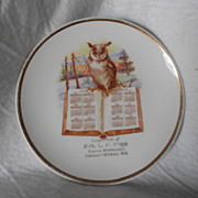 Vintage 1912 Calendar Plate Advertisement Owl Scene Small 7 1/2""