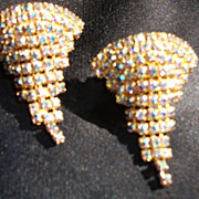 Shoe Clips Rhinestones Vintage MUSI Gold tone