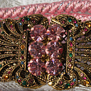 Vintage Gutos Rhinestone Belt Pink