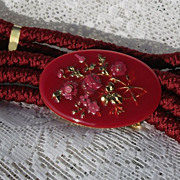 REDUCED Vintage Gutos Enamel Belt Red Braided Elastic