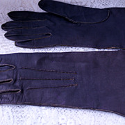 Vintage Leather Gloves Ladies Purple