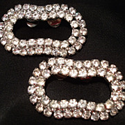Vintage Shoe Clips Rhinestone Silver tone