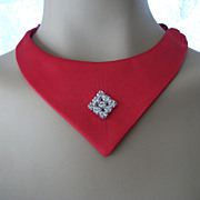 Vintage  Red Satin Choker Gothic Chic  Rhinestones Women