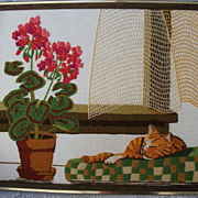 REDUCED Vintage Framed Embroidered Catnap Geranium
