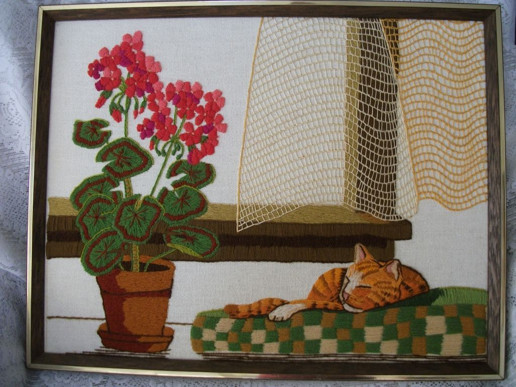 Vintage Framed Embroidered Catnap Geranium