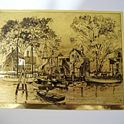 REDUCED Vintage Set of 4 Gold-Etch Prints By Lionel Barrymore