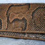 Vintage Genuine Snake Skin Clutch Purse Ladies