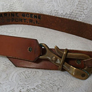 Vintage Boater's  Pelican Clip Buckle Leather Belt Brown