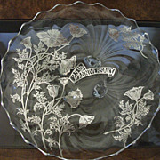 SALE Vintage  Cambridge Caprice Silver Overlay Platter 25 Anniversary