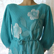 Vintage Savion by Ignacy Feuer 2 -Piece Knit Sweater and Skirt Set Aqua / White  Women