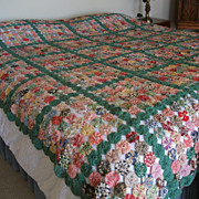 Vintage Yo Yo Quilt or Coverlet Queen / King Size