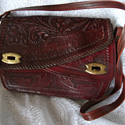 Vintage Hand Tooled Purse Genuine Leather Red