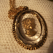 SALE Vintage Glass Cameo Pendant and  Necklace Gold tone Metal