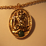 Vintage Saint Christopher Gold tone Pendant with Jade