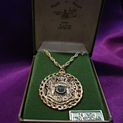 Vintage Hawaii Royal Crest Pendant Gold Tone with Chain and Jade