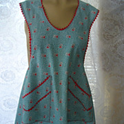 SALE PENDING Vintage Bib Apron Cotton Fabric with Floral Print Teal, Grey and Red