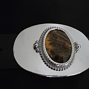 Vintage Belt Buckle Chrome and Faux Tiger Eye Cabochon