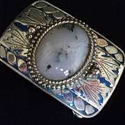 Vintage Belt Buckle Genuine Moss Agate Cabochon Silvertone Metal
