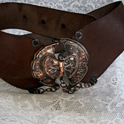 Vintage Genuine Leather Belt with Copper Buckle