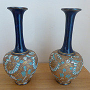 SALE Gorgeous Pair Royal Doulton Lambeth Slater Cobalt Chine Vases #5904