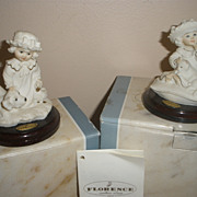 A Pair of 2 Giseppe Armani & Capodimonte Society Only Figures-Quiet Please & Puppy Love