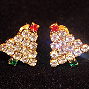 SALE Sparkly Festive Rhinestone Christmas Tree Clip Earrings