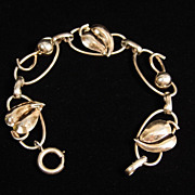 "SALE Lovely Gold Washed Sterling Silver Napier Leaf & Ball Design 8"" Bracelet"