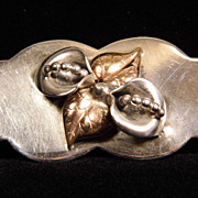 Sterling Silver Calla Lily & Leaf Two-Tone Brooch