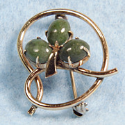 WRE Gold Filled Genuine Jade 3 Leaf Clover Brooch