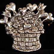 SALE Sterling Silver Basket of Hearts & Flowers Brooch